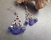 Dark Blue Sea Glass Earrings, Chandelier Earrings, Scottish Sea Glass, Scottish Jewelry, Gift from Scotland, Blue Dangly Earrings, Silver