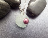 Sea Glass and Pearl Necklace, Scottish Jewelry, Aqua Sea Glass Pendant, Dark Pink Pearl, Beach Necklace, Long Necklace