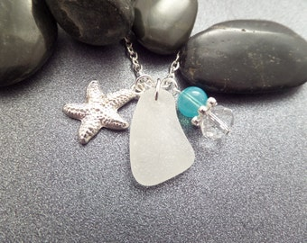 Starfish Necklace, Sea Star Necklace with White Scottish Sea Glass and Turquoise Bead, Scottish Jewelry, Sea Glass Necklace, Sea Shell Charm