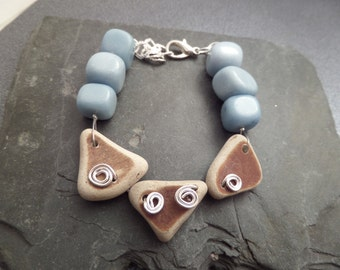 Scottish Sea Pottery Bracelet in Light Blue and Brown, Broken China Jewelry, Scottish Jewelry, Gift From Scotland, Rustic Pottery Bracelet