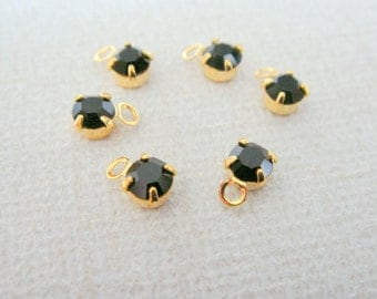 Gold rectangle charm with Black cubic zirconia, small dangle connectors, Bead findings, Crystal Stone Bead, 5 pc, S62534