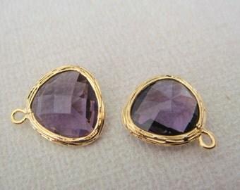 Jewelry Supplies, Gold Glass Pendant, Amethyst Lilac Stone Bead, 2 pc, PE8407