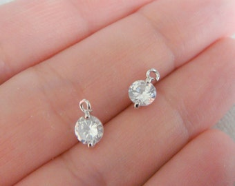 Silver Small round crystal Stone bead, clear cz connector, petite Clear Stone pendants, Gemstones, Beads, 2 pc, U52313
