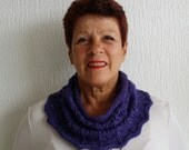 Purple handknitted shawl / cowl / scarf with lace pattern
