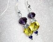 Colorful FALL Earrings 8mm Purple Velvet #5040 Swarovski & 10mm Light Topaz Helix #5020 Swarovski Crystal Beads On Silver Hooks