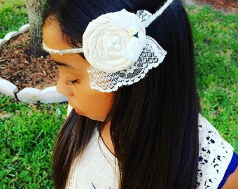 Crochet handmade headband with fabric rossette and pearls Vintage lace