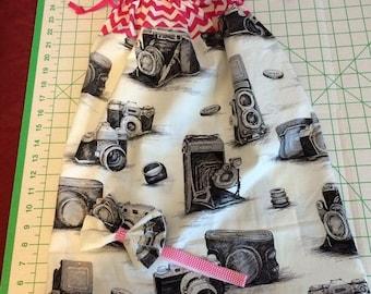 Pillow dress camera print fabric and fabric bow on foe
