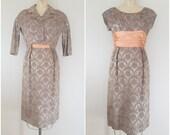 Vintage 1960s Cocktail Dress with Jacket / Rose Gold Brocade / Peach Satin Dress / Fancy Dress / Medium