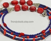 Coral & Lapis Lazuli Necklace, Lapis and Coral Beaded Necklace Triplet Strand Necklace Gift Idea tibetan necklace