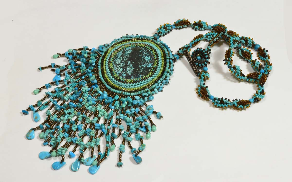 Tutorial embroidery beaded necklace free form by trendydeals