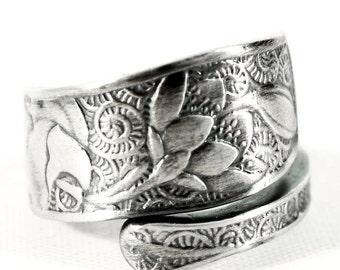 Silver Rose Ring, Sterling Silver Spoon Ring, Wild Rose, Rose Flower, Floral Ring, Nature Ring, Organic Ring, Adjustable Ring Botanical Gift