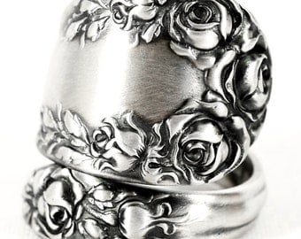 Vintage Victorian Rose, Sterling Silver Spoon Ring, R Wallace Pattern of 1888, Handmade Gift for Her, Personalized Ring Size (5575)
