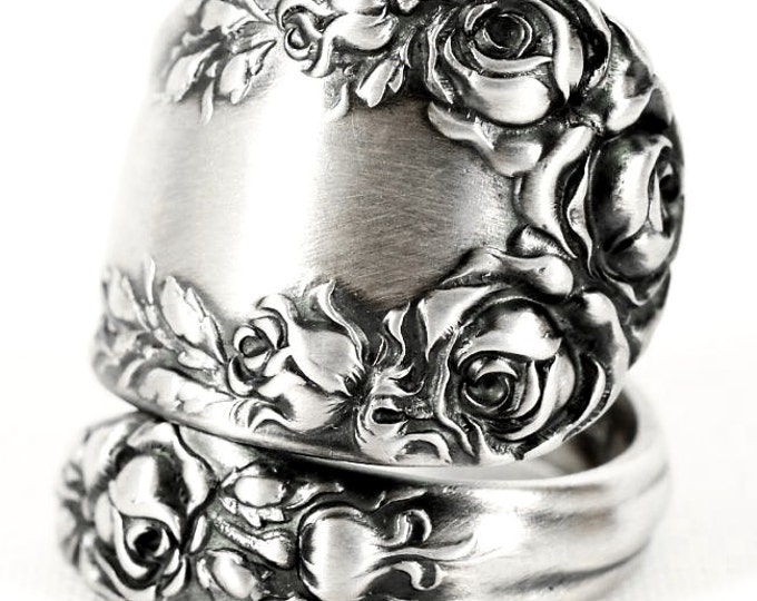 Victorian Rose Ring, Sterling Silver Spoon Ring, Antique Wallace Silver 1888, Handmade Gift for Her, Rose Ring, Adjustable Ring Size (6841)