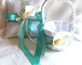 Aqua Calla lily flower girl basket ring bearer pillow set tropic blue and silver wedding bridal accessories