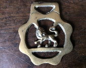 Vintage English lion horse brass harness martingale tack decoration lucky charm circa 1920-30's / English Shop