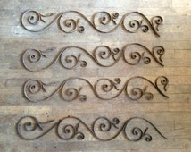 Vintage French outdoor wall gate fence panel lobby window decor decorative wrought iron circa 1920s / English Shop