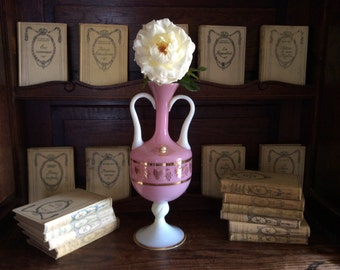 Vintage French pink and white hand blown glass cameo grape two handled amphorae vase circa 1930-40's / English Shop