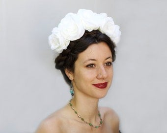 White or Ivory Rose Crown, Mexican Flower Headpiece, White Rose Crown, Boho, White Rose Headpiece, Flower Crown, Frida Kahlo, Rose Crowns
