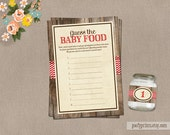 Guess the Baby Food Rustic Red Chevron Baby Shower Game Cards - INSTANT DOWNLOAD - Jane Collection