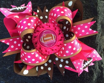 Football Cutie Pink & Brown Hairbow