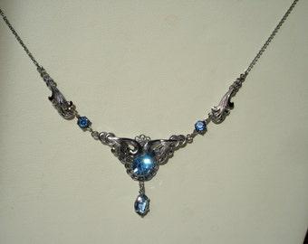 Art Deco Necklace Blue Glass Rhinestones  Silver Tone1920's 1930's