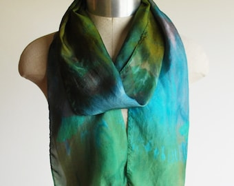 multi colored silk scarf, screen printed, hand dyed, unique scarf, ginko leaf
