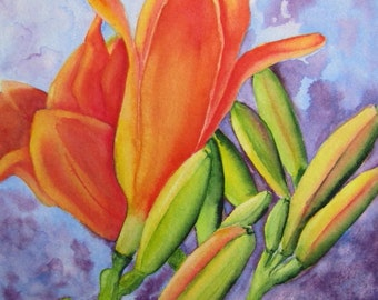 Flower Art Print, Flower Painting, Daylily Print, Lily Watercolor, Flower Wall Art, Home Decor Gift, Flower Watercolor, Barbara Rosenzweig