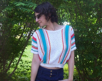 Vintage Striped Nubby Knit Crop Top Sweater By Koret