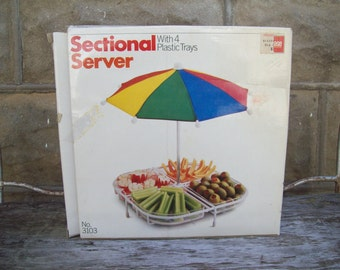 Vintage 1984 Sectional Hors d'oeuvre Server With Umbrella Vintage Picnic Serving Ware