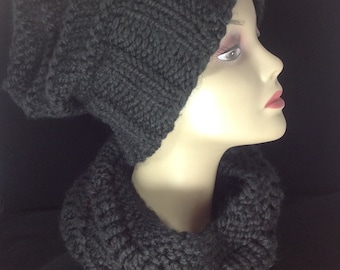 Knit beanie hat, knit hat in black, chunky knit winter hat, knit wool beanie, chunky slouchy beanie, hand knitted hat, slouchy hat