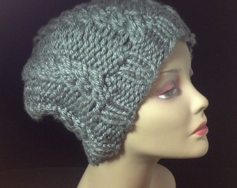 SALE Knit beanie hat, knit hat in gray, chunky knit winter hat, knit wool beanie, chunky slouchy beanie, hand knitted hat, slouchy hat
