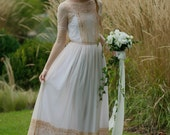 Elegant dusty pink, peach lace and tulle bridal gown, dress