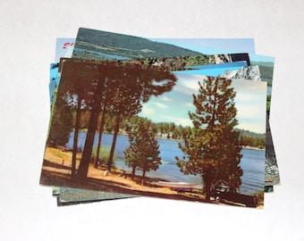 9 Vintage California Lakes Chrome Postcards Used
