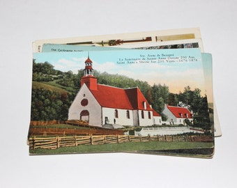 12 Vintage Ste Anne de Beaupre Quebec Canada Postcards Unused - Travel Themed Wedding Guestbook