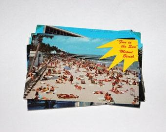 15 Vintage Miami Florida Chrome Postcards - Used