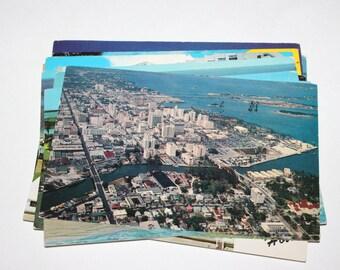 12 Vintage Miami Florida Chrome Postcards - Used