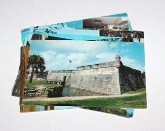 10 Vintage St Augustine Florida Chrome Postcards - Used