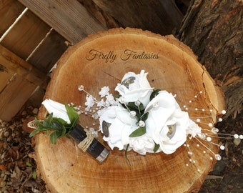 Shot Gun Shell Boutonniere and Corsage Package - Black Remington Shells White Rose flowers pearls Homecoming Prom