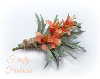 Country Woodlands Rustic Peach Mint Flower Boutonniere - Coral Men's Groom natural hemp twine Wedding