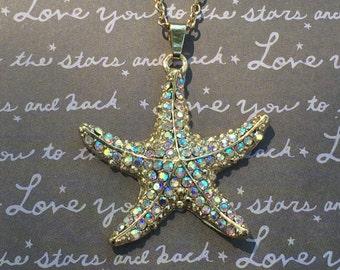 Gorgeous rhinestone starfish necklace