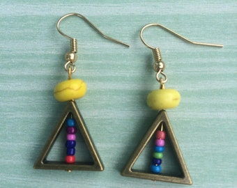 Gorgeous multi color beaded triangle earrings