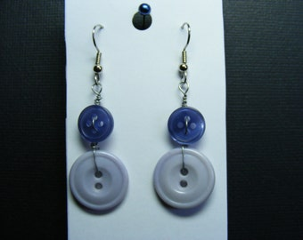 Vintage Glass Blue Button Earrings