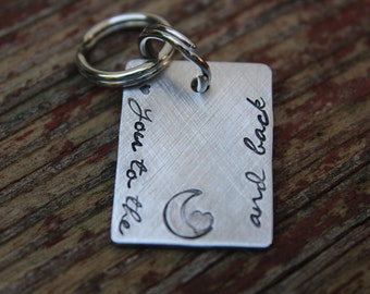 Custom Hand Stamped Pet ID Tag, ID Tag for Cat, ID Tag for Small Dog, Personalized Pet Tag, Love You To The Moon & Back