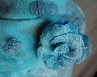 felted shawl nuno felted  stole scarf nuno felted  wrap turquoise  felted wrap fringed wrap turquoise stole matching brooch long nuno  wrap