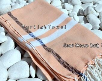 Turkishtowel-Soft-Hand woven,warp&weft cotton Bath,Beach Towel-Twill pattern,selvedge blue diamond line-Salmon and white tail accents