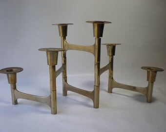 Vintage Mid Century Articulating Folding Brass Candleholder Brass Accent Expanding Contracting Candle Holder Candleabra