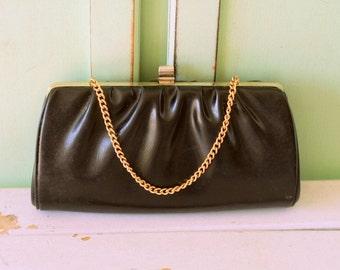 Vintage FANCY GIRL Handbag...retro. black clutch. cinderella. mad men. 1980s. dainty. clutch. handbag. mod. classic. twiggy. prom.