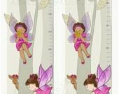 Fairies Growth Chart - Girl room decor - Girl's nursery - Whimsical Growth Chart - Whimsical Fairies in the forest - Girl Growth Chart