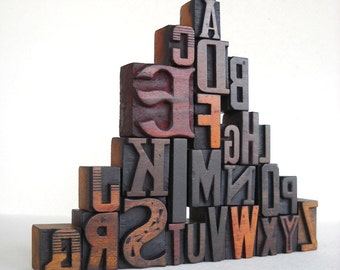 25% OFF - A to Z - Vintage Letterpress Wood Type Collection -LP16