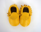 Size 1, 0-3 Months, Yellow Leather Moccasins, Baby Moccasins, Leather Baby Shoes, Toddler Moccasins, Genuine Leather Moccs, Baby Moccasins